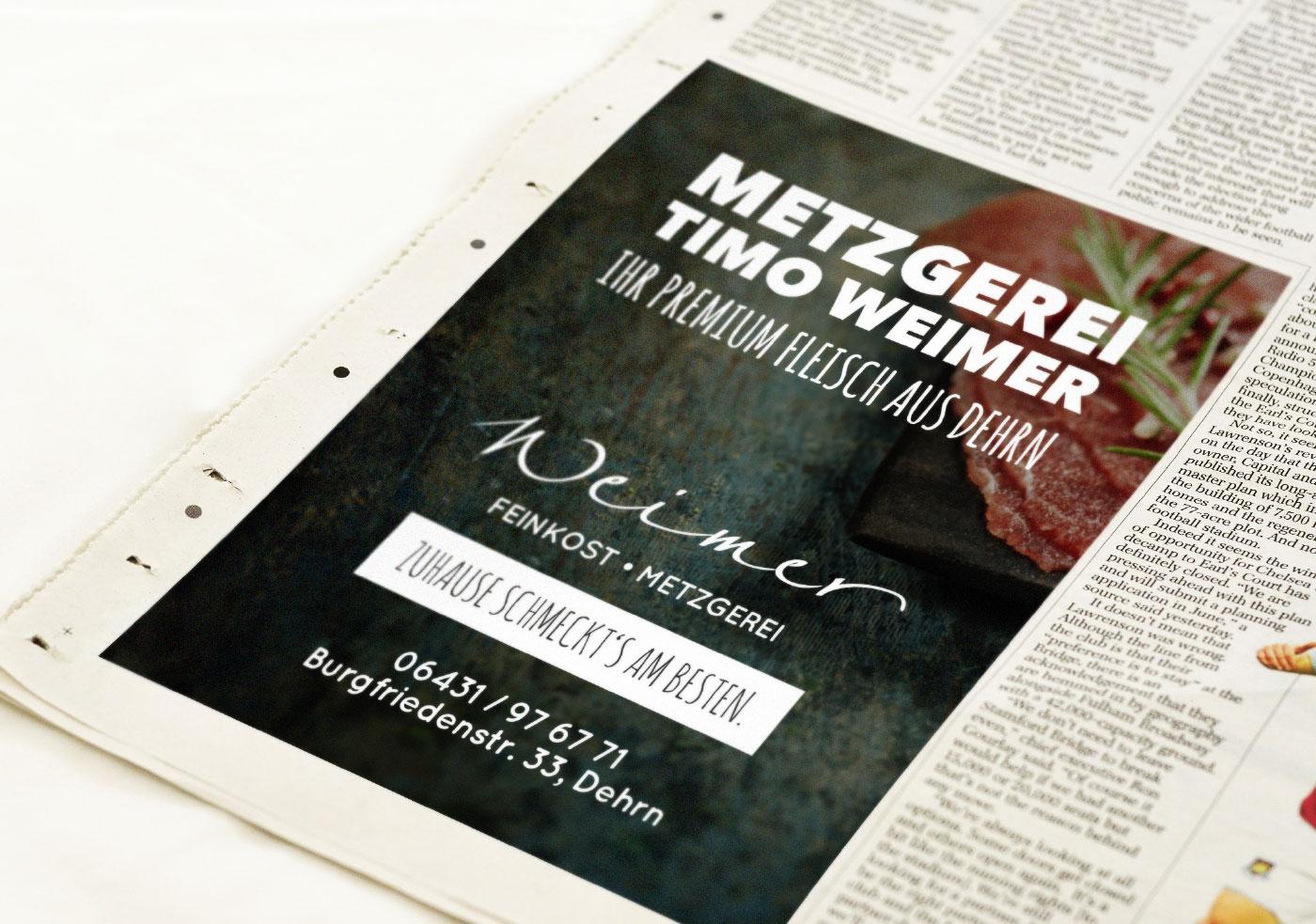 Metzgerei Weimer Zeitungsanzeige