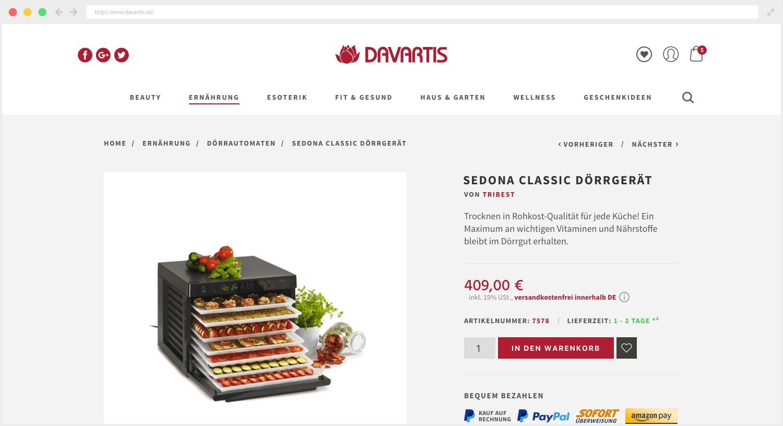 Davartis Webseite Produkt