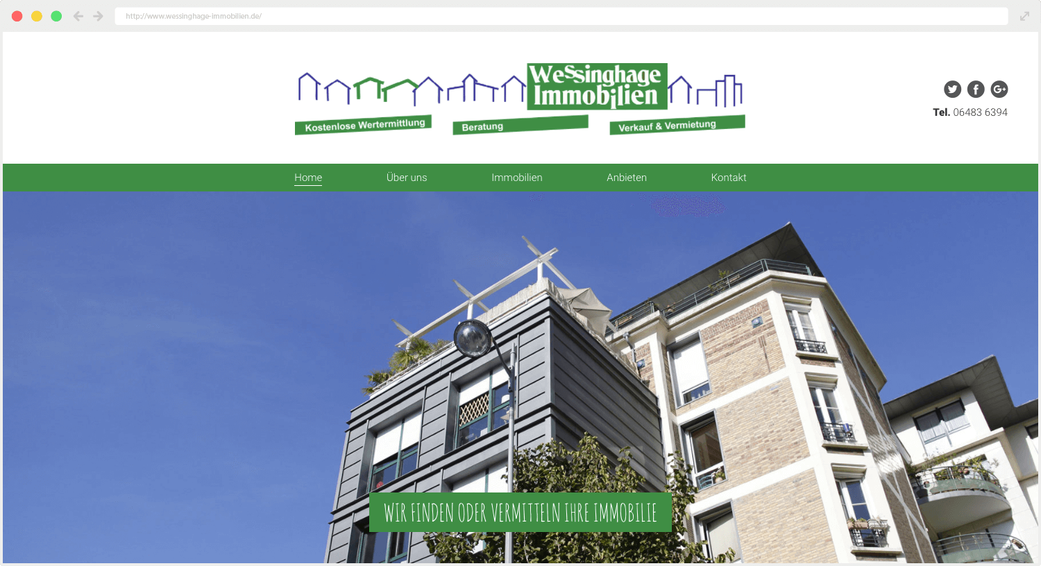 Wessinghage Immobilien Webseite